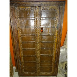 Small antique cupboard doors with metal - 2