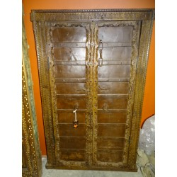 Small antique cupboard doors with metal - 4