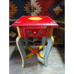 Small multicolored pedestal table 1 drawer (45 cm high)