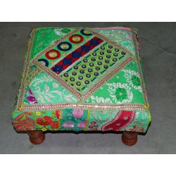 Low stool 40X40x25 cm covered with patchwork - 4