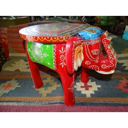 Hand painted elephant stool or end table - 7