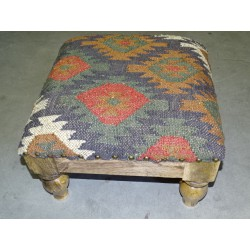 Low stool 40X40x25 cm covered with carpet durrie - 1