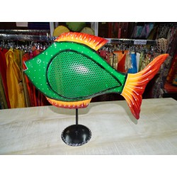 Hand painted tinfish fish in dark green color