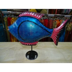 Candlestick tin fish painted by hand in blue color