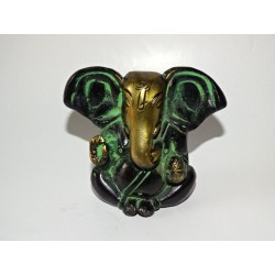 Small patinated modern Ganesh in green and black - 7 cm