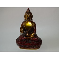Buddha medicine with a golden and brown patina - 17 cm