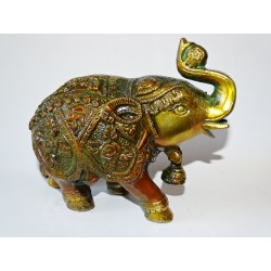 Ceremonial Elephant with bell and golden and brown patina