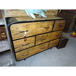 Industrial chest of six drawers and recycled teak