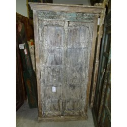 old indian bedroom wardrobe with 2 carved doors