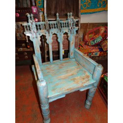 Old teak armchair south of India patinated in turquoise