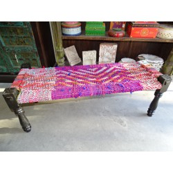 Long Indian bench with seat in multicolored twine rope - 1