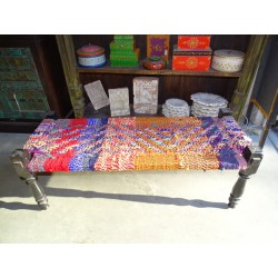 Long Indian bench with seat in multicolored twine rope - 3