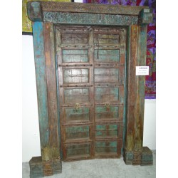 Very old indian house door patinated in turquoise - 2