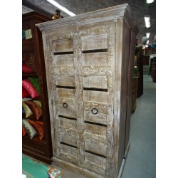 Large white patinated mango wood wardrobe with metal crosspieces