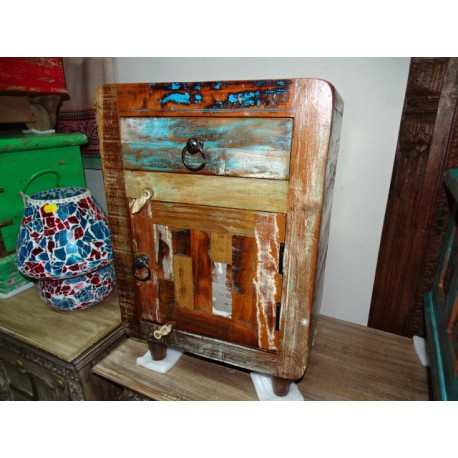 Bedside table in recycled teak 1 drawer in rounded corners