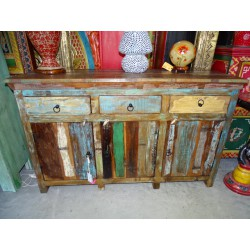 Large bahamas recycled teak sideboard with 3 doors and 3 drawers