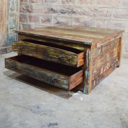Old square coffee table with four drawers 90x90x45 cm