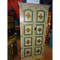 Large white and turquoise wardrobe decorated with brass 100x183 cm