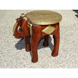Rosewood and brass elephant stool or end table - 45 cm