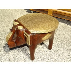 Rosewood and brass elephant stool or end table - 36 cm