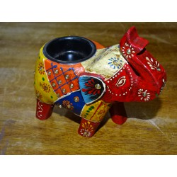 Hand painted and carved elephant candle holder