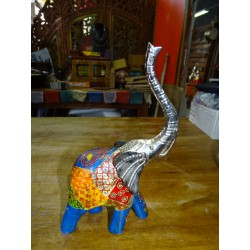 Elephant in metal and wood carved and painted by hand - PM
