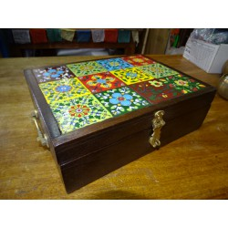 Large rosewood box decorated with ceramic tiles