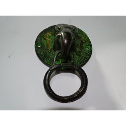 Handle in bronze elephant black patinated green - 12 cm