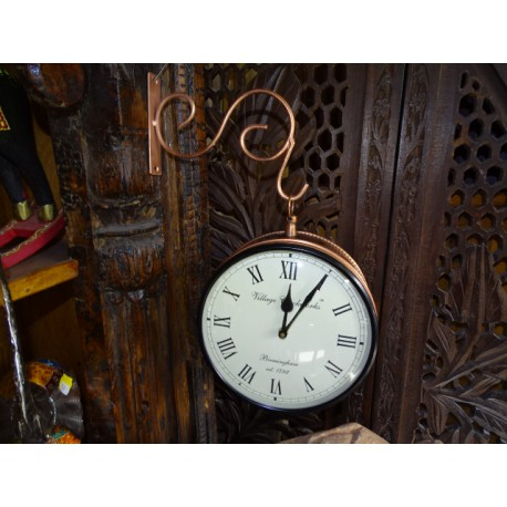 English style double-sided station clock - 21 cm model - copper