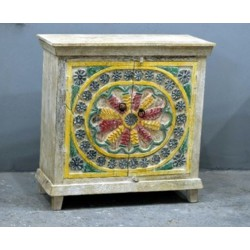 Low sideboard 2 doors fully carved and patinated multicolor pastel