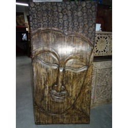 Large rosewood panel carved with the effigy of buddha