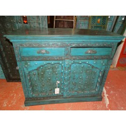 Antique Indian Buffet with turquoise arched doors