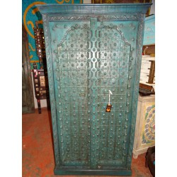 Arch cabinet and patinated metal in turquoise 96x43x180 cm
