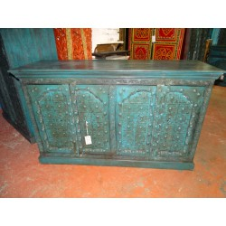 Large Indian sideboard turquoise with arched doors