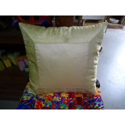 cushion cover 40x40 beige taffeta with brocade edge