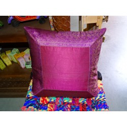 cushion cover 40x40 fuchsia taffeta with brocade edge