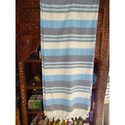 KERALA Indian bed cover in ecru sky blue and gray