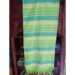 KERALA Indian bedspread in apple green and 2 green