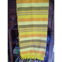 Indian KERALA bed cover in yellow, orange and gray color