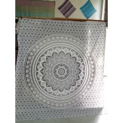 Cotton hanging 220 x 200 cm with gray lotus flower