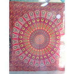 Cotton hanging 220 x 200 cm with red stained glass