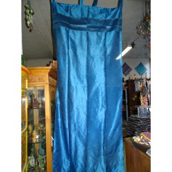Taffeta curtains with turquoise brocade edges in 250 x 110 cm