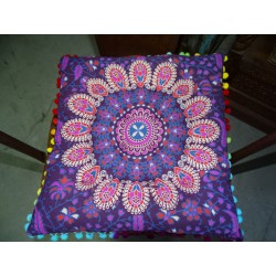 Purple cotton cake with pompoms 37x37 cm