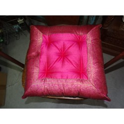 Chair pad with pink brocade edges 38x38 cm