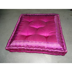 Floor cushion fuchsia-colored brocade edges 57x57 cm