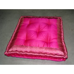 Floor cushion pink brocade edges 57x57 cm