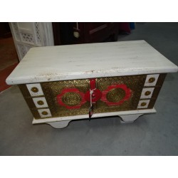 Red and white mango wood and brass chest