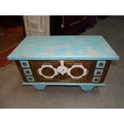 Turquoise and white mango wood and brass trolley