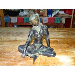 Large bronze statue of Parvati with green patina