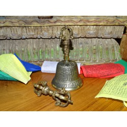 Tibetan bell and dorje 7.5 cm diameter and 14 cm high